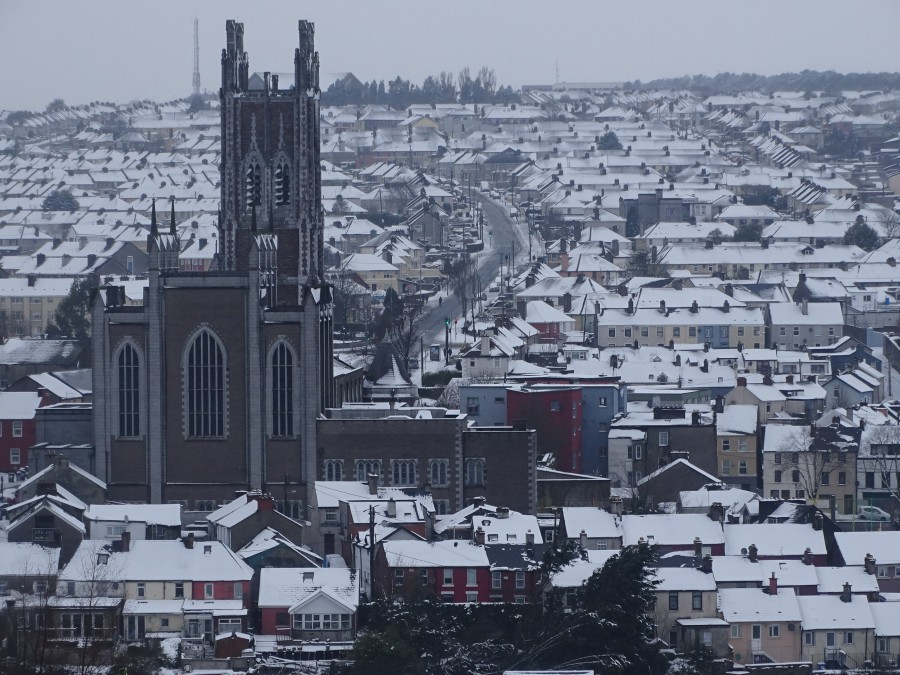 Snow atop St Patrick's Hill, Cork City & North Cathedral, 2 March 2018