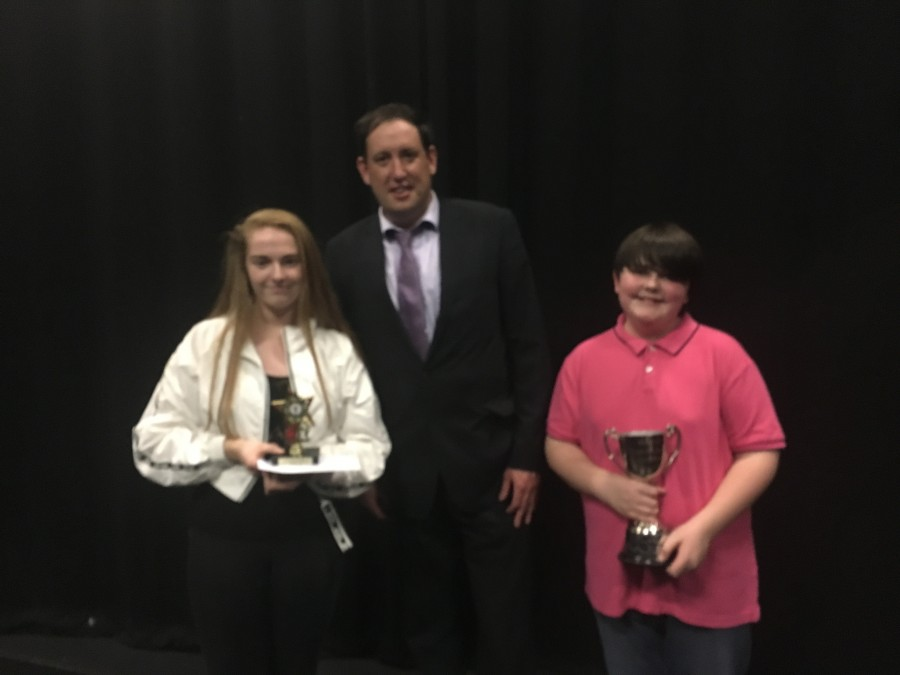 Winners Charlie and Rachel with Cllr Kieran McCarthy at final of McCarthy's Community Talent Competition, May 2018