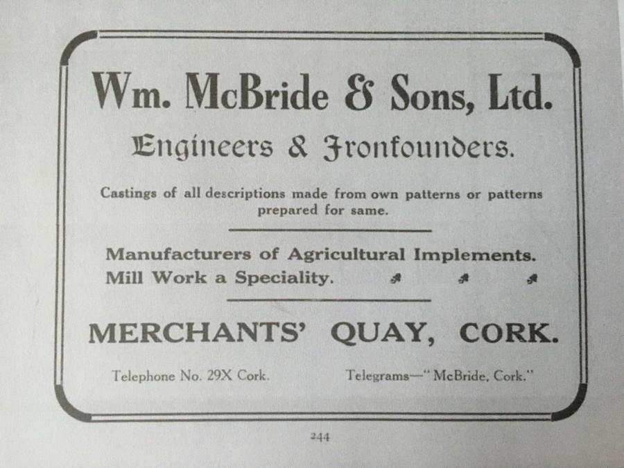 953b. Advertisement for William McBride & Sons Ltd, 1919