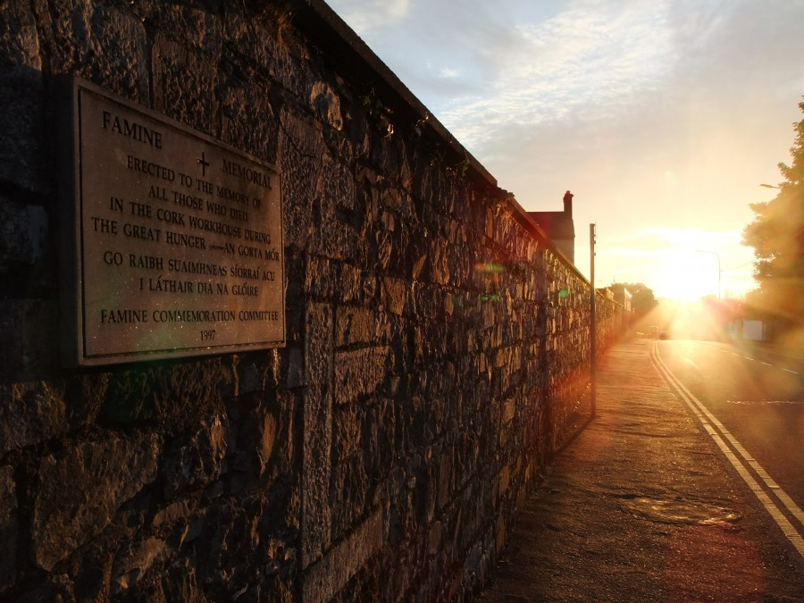 Sunset on Great Famine memorial plaque on the boundary wall of St Finbarr's Hospital, Douglas Road, Cork