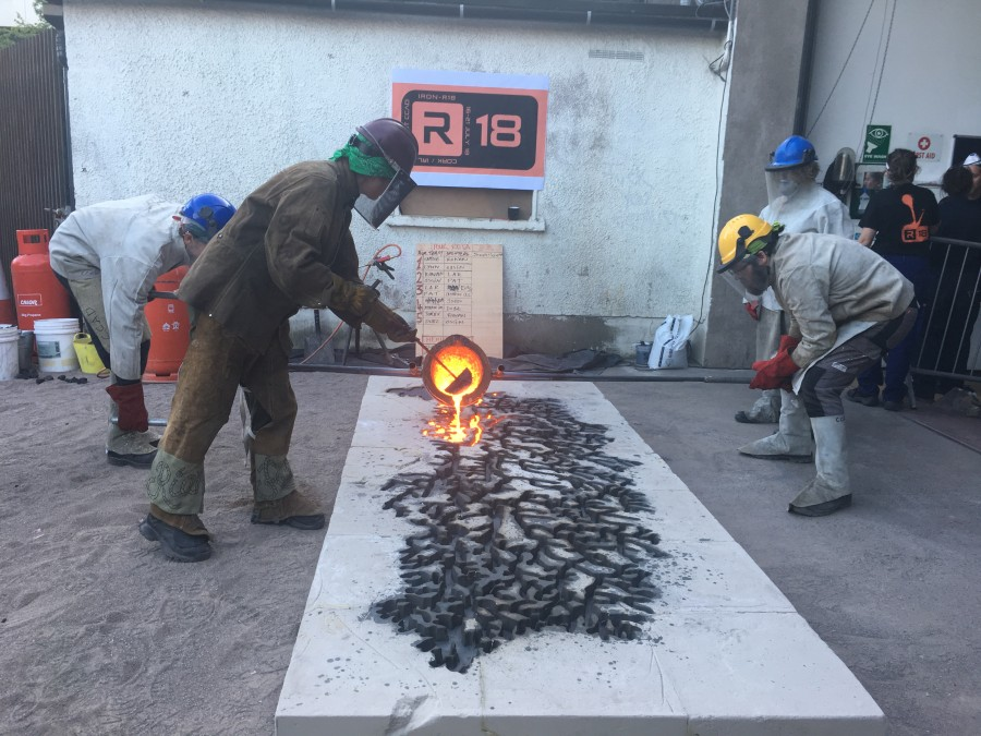 3. On Thursday, 19th July 2018, artist Tamsie Ringler Performed a iron pour During the IRON-R 2018 iron casting workshop in connection with Crawford College of Art and Design and the National Sculpture Factory in Cork, Ireland. The piece depicts the tributary system of county Cork's river Lee.