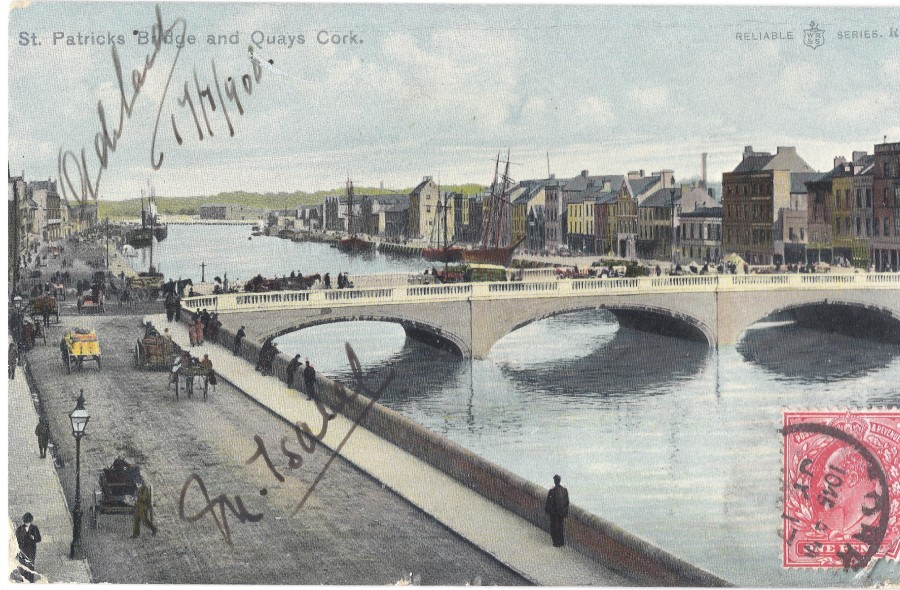957a. Postcard view from Camden Quay of St Patrick's Bridge and Merchants' Quay, 1908