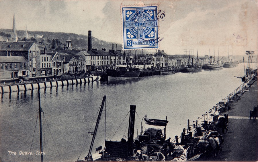 957b. Postcard view from Merchants' Quay of St Patrick's Quay c.1900