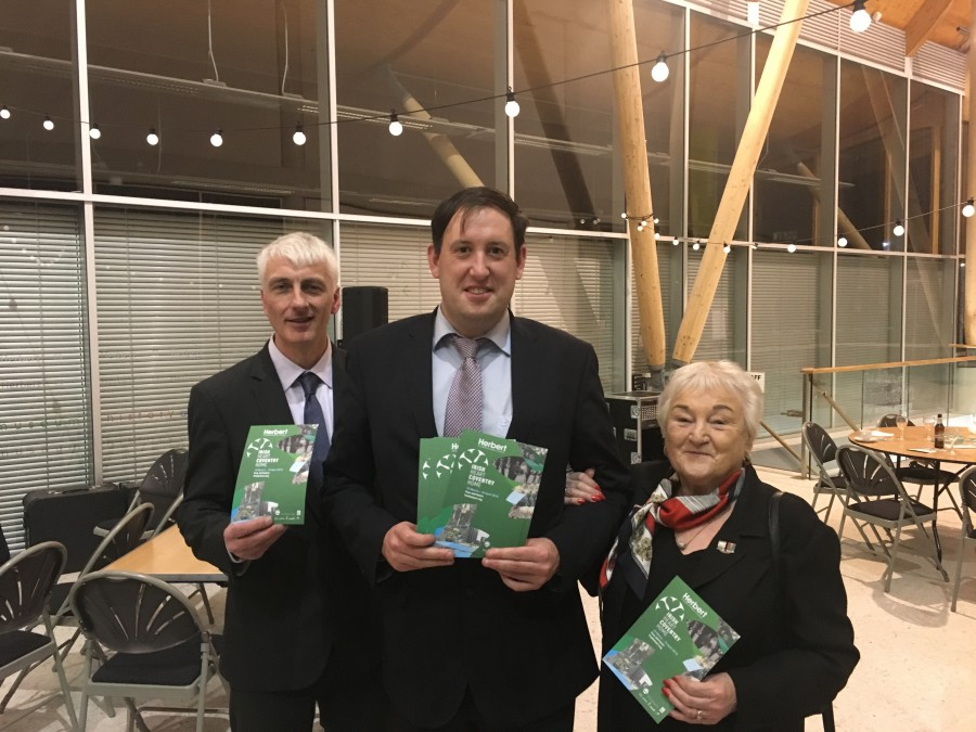 964b. Covenry Irish Society stalwarts Simon McCarthy and Kay Forrest with Cllr Kieran McCarthy at the launch of Irish Heart Coventry Home last March 2018