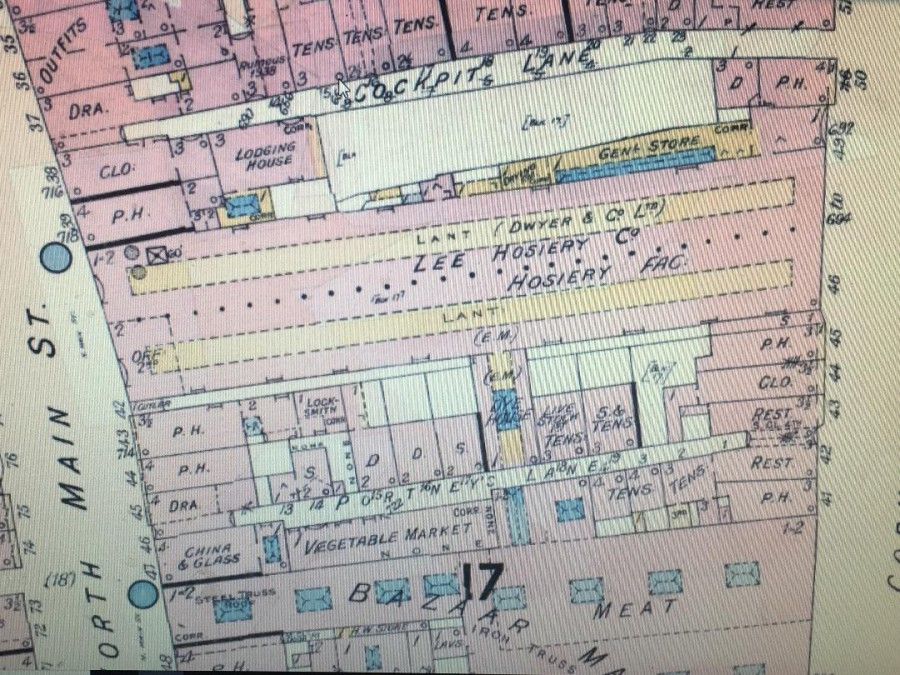 978a. Section of Goad's insurance plan of North Main Street and Cornmarket Street, 1938 showing Dwyers Lee Hosiery Company, former site of Cork National Shell Factory
