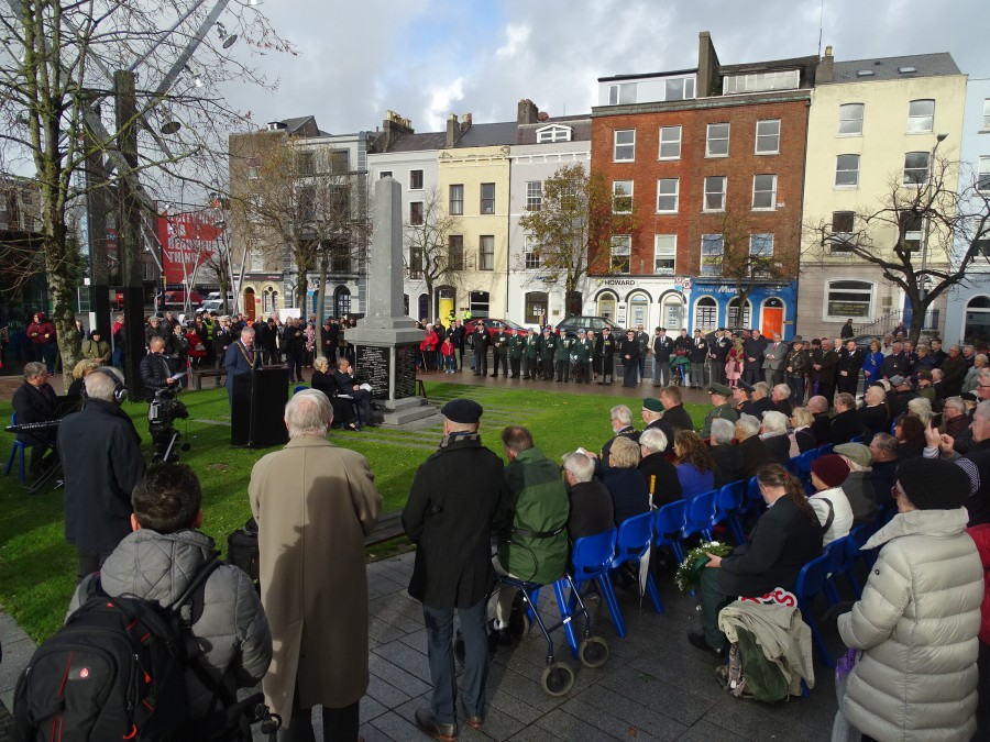 Marking the centenary of Armistice day at the Fallen Soldier Memorial on the South Mall for the over 4,000 Corkmen killed in World War 1, 11 November 2018