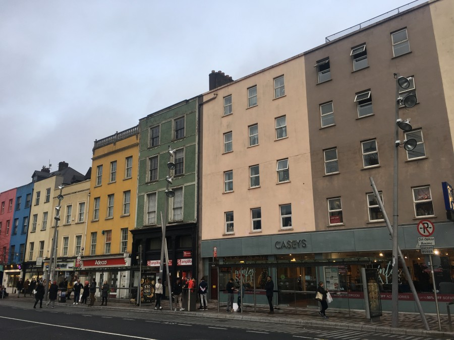 979a. Grey building on right, Caseys, marks 37 Grand Parade, former depot of the Cork Branch of the Irish Women's Association