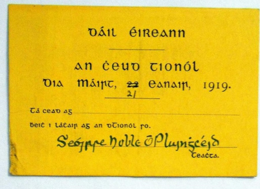 980b. Public admission ticket to first Dail Eireann meeting, 21 January 1919