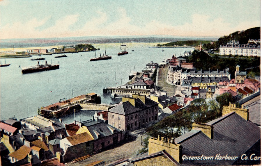 982a. Postcard of Liners at Queenstown (now Cobh), c.1900