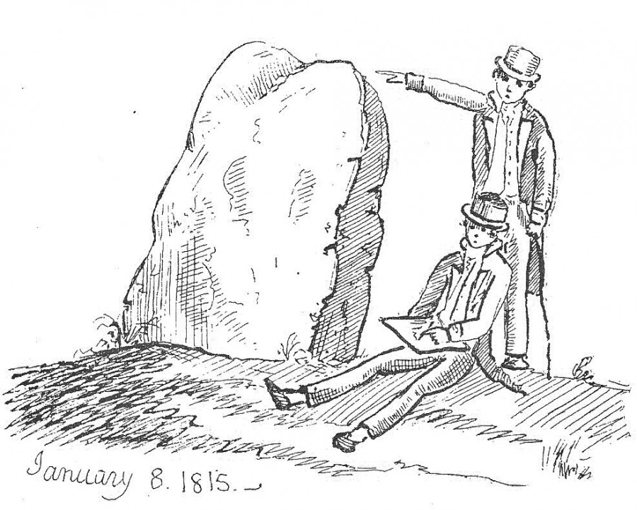 Illustration of Ballinlough standing stone Cork, From 1815 work attributed to Thomas Crofton Croker