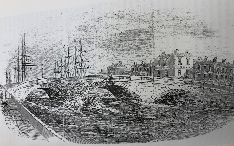 The damged St Patrick's Bridge,  Cork, from Illustrated London News 1853