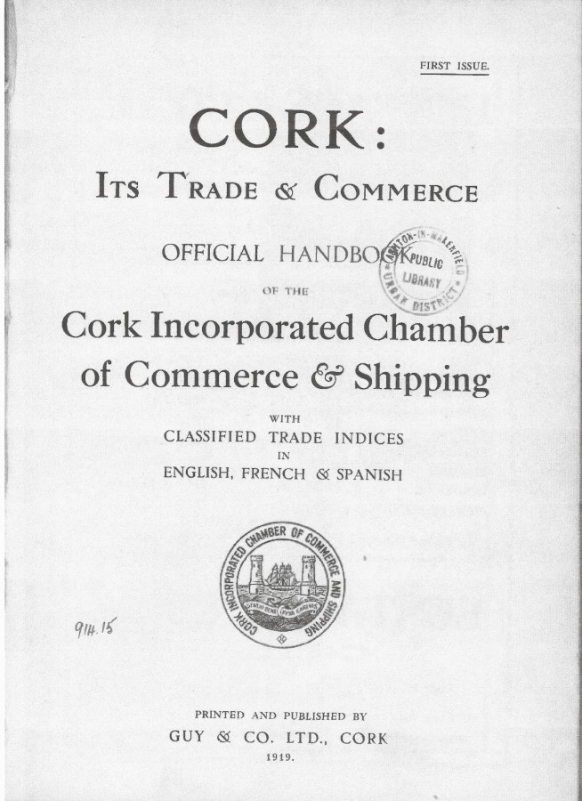 991a. Front cover page of Cork Its Trade and Commerce, published in 1919