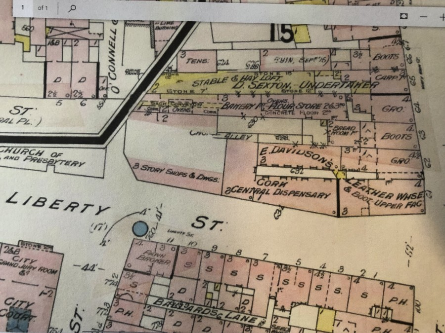 992a. Map of Liberty Street with Cork City Central Dispensary 1915 from Goad's Insurance Maps