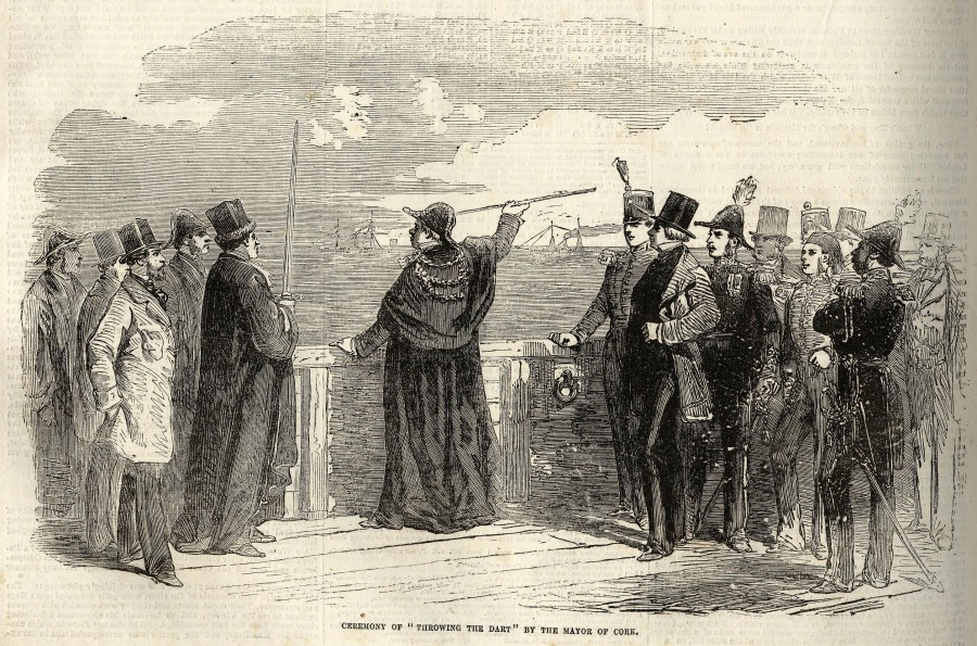 997c. Throwing the Dart ceremony with Mayor and officials, mouth of Cork Harbour, 1855