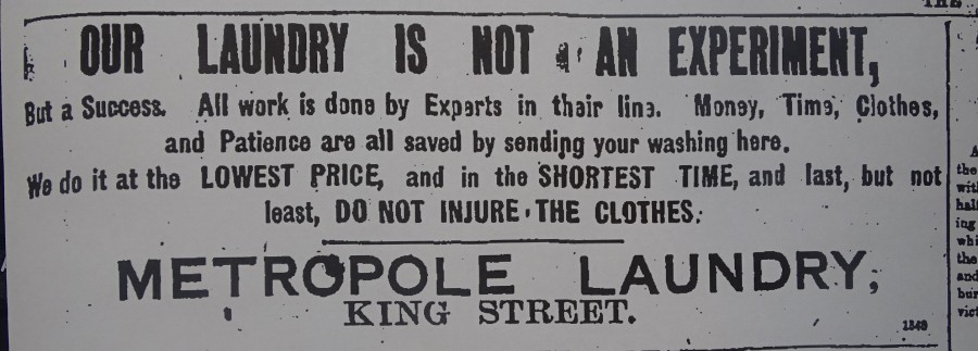1012b. Advertisement for Metropole Laundry from 1910s Cork Street Directory