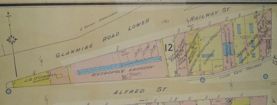 1012c. Sections of Goad's insurance map of Alfred Street, 1915 showing Metropole Laundry