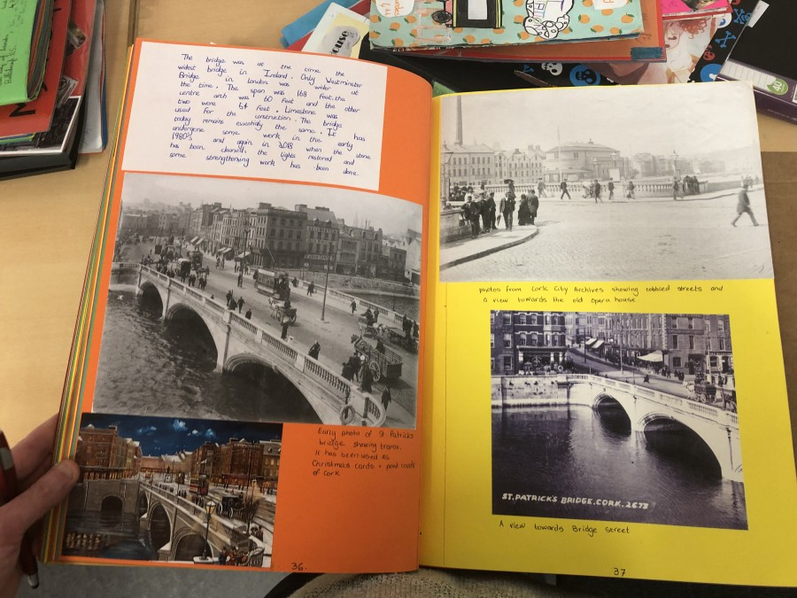 1014a. Project page on the local history of St Patrick's Bridge from Our Lady of the Lourdes NS student 2018.