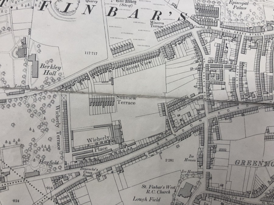 1018a. Map of Wycherley site off Bandon Road, pre development, c.1900