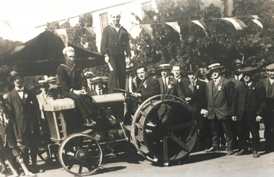 1020a. Lord Mayor William F O'Connor on the first Fordson tractor produced in the Cork Plant, 3 July 1919 (source Cork City Library).