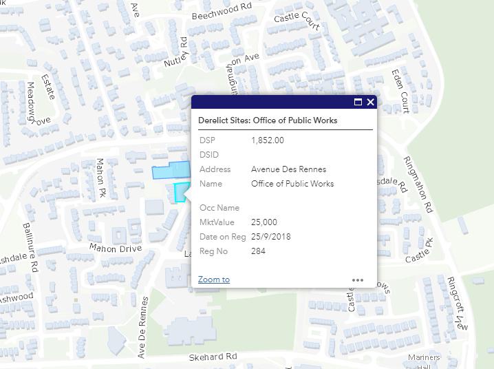 Derelict site register for Mahon, Cork, 2 October 2019