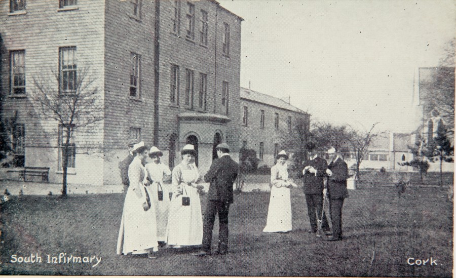 1036a. Postcard of former entrance to South Infirmary, c.1910; this main block has now been replaced by the modern hospital