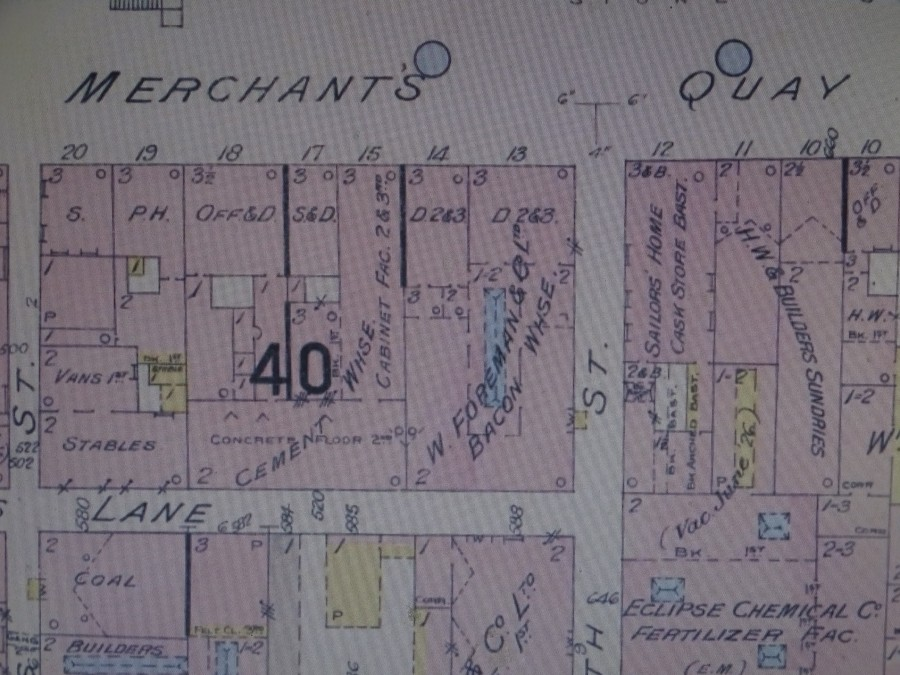 1038b. Insurance map of Merchant's Quay, c.1915 showing Cork Sailor's Home at no 12