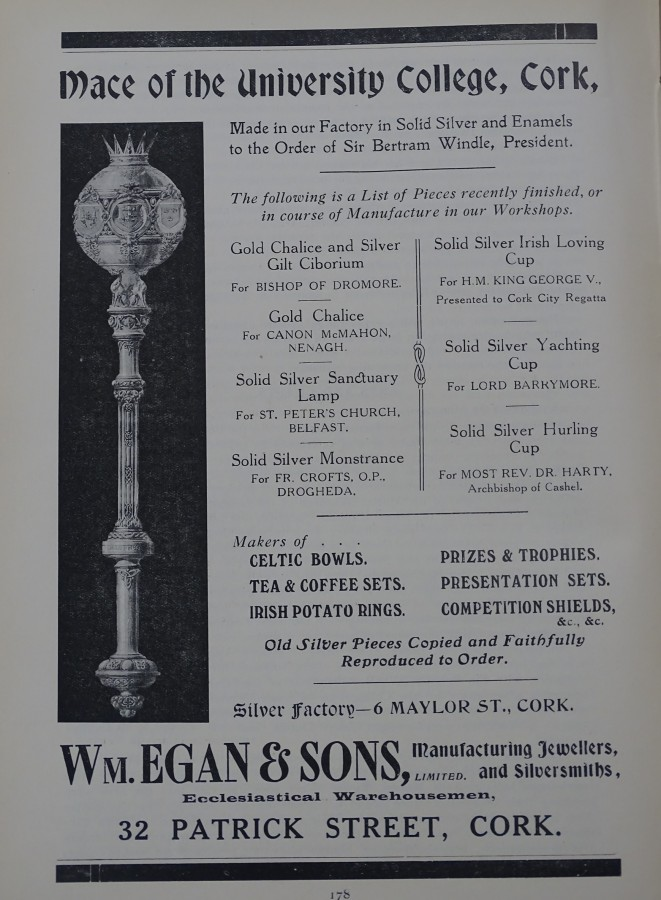 1039a. Advertisements for Egan's Silversmiths, St Patrick's Street, 1919