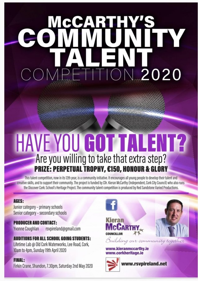 Cllr Kieran McCarthy's Community Talent Comp Poster 2020