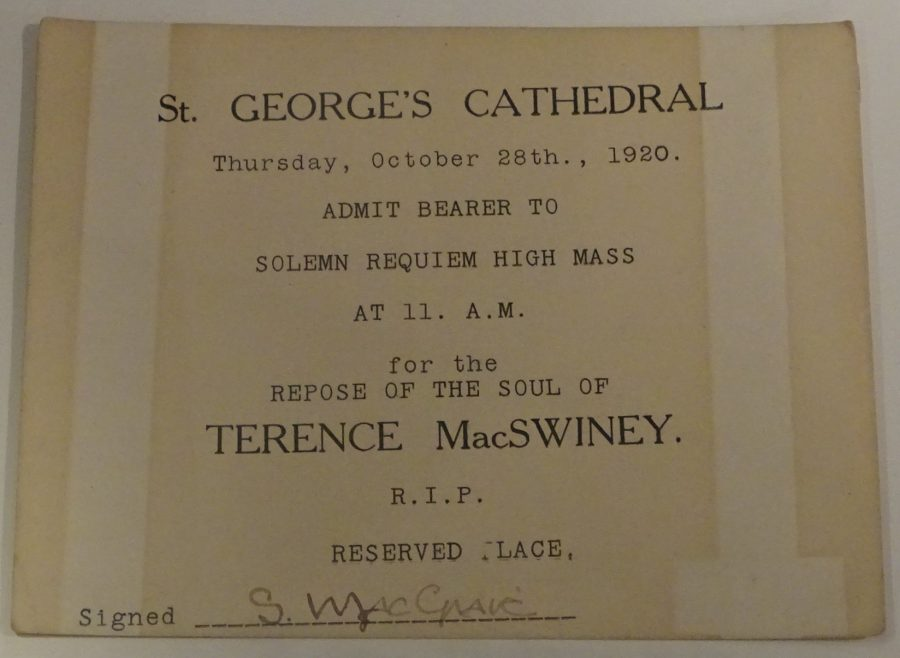 1072b. Invite to funeral of Terence MacSwiney at Southwark Cathedral, London 28 October 1920 (Cork Public Museum).