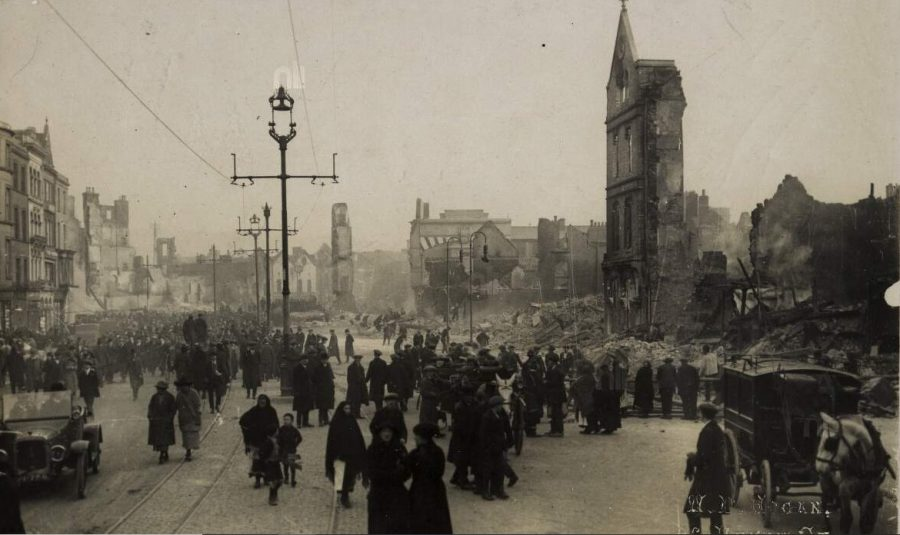 Aftermath of the Burning of Cork on St Patrick's Street photograph by W Hogan (source: National Library of Ireland).