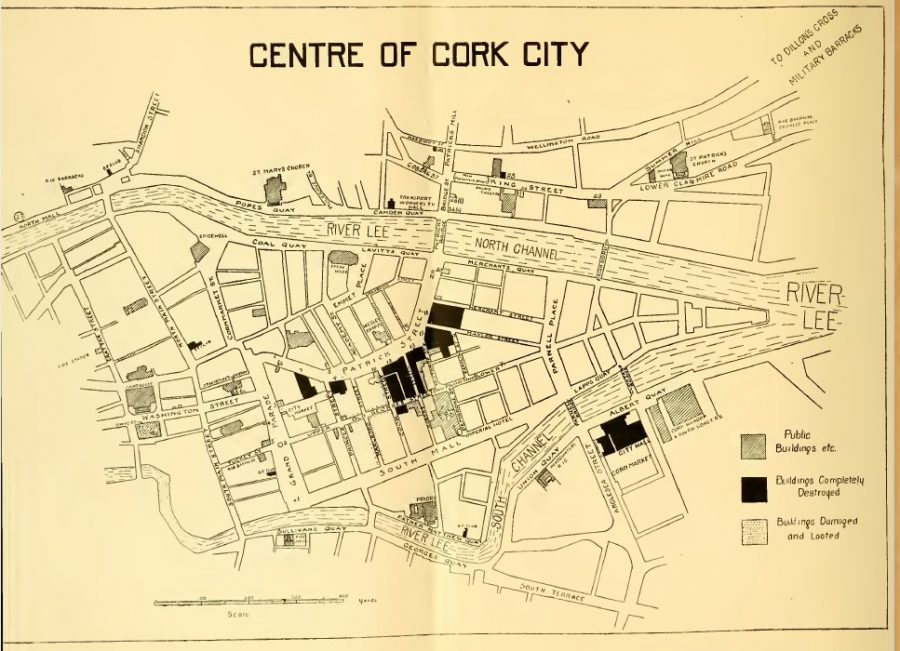 1079a. Map of burnt out sites from Burning of Cork, December 1920 from the Sinn Féin and Irish and English Labour Party publication Who Burnt Cork City (1921).