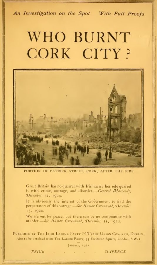 Title page from Who Burnt Cork City, 1921 (source: Cork City Library)