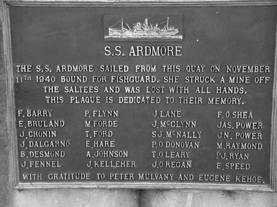 1097b. Plaque commemorating the sinking of SS Ardmore II, Penrose Quay, Cork (picture: Kieran McCarthy).