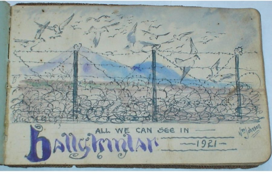 1098b. Internee William Johnson's sketch looking out from one of the camps in Ballykinlar, 1921 (picture: Down County Museum).