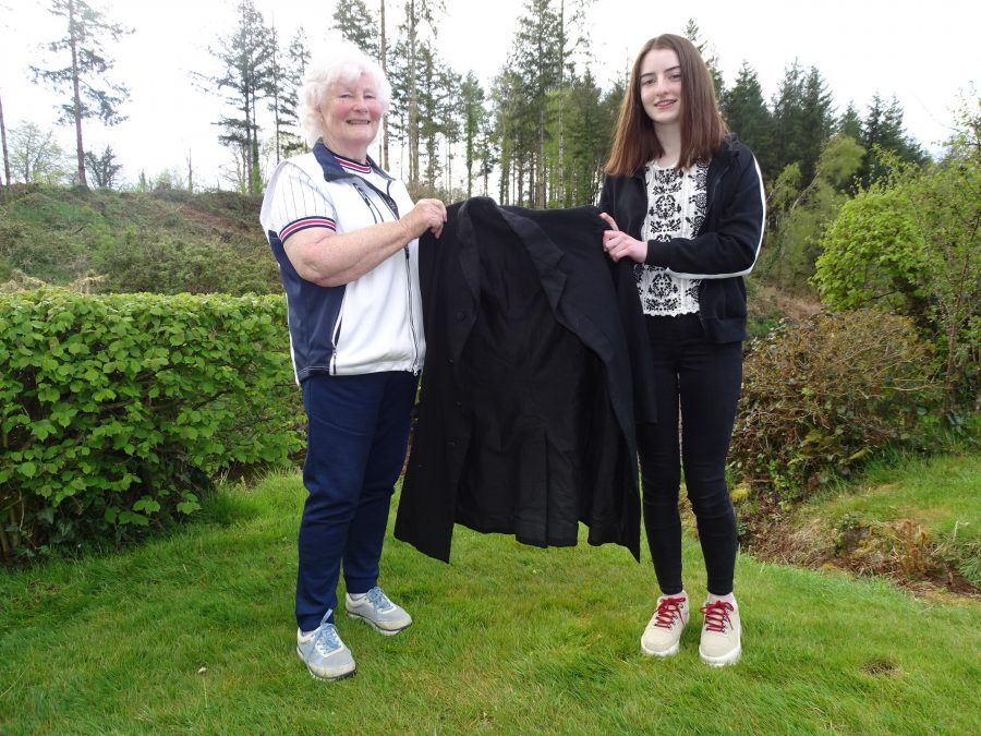 1099b. Mary Healy (nee O'Brien) and Mary O'Brien with Fr James O'Callaghan's priest jacket, present day (picture: Kieran McCarthy).