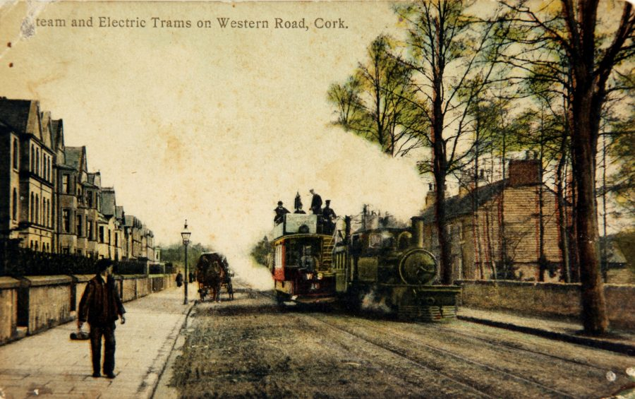 1110a. Western Road with the Cork-Muskerry Tram, c.1910 from Kieran McCarthy's and Dan Breen's Cork City Through Time (2012, Amberley Publishing).