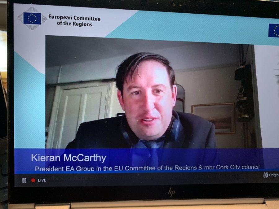 Cllr Kieran McCarthy, speaking virtually at Strasbourg, 9 May 2021