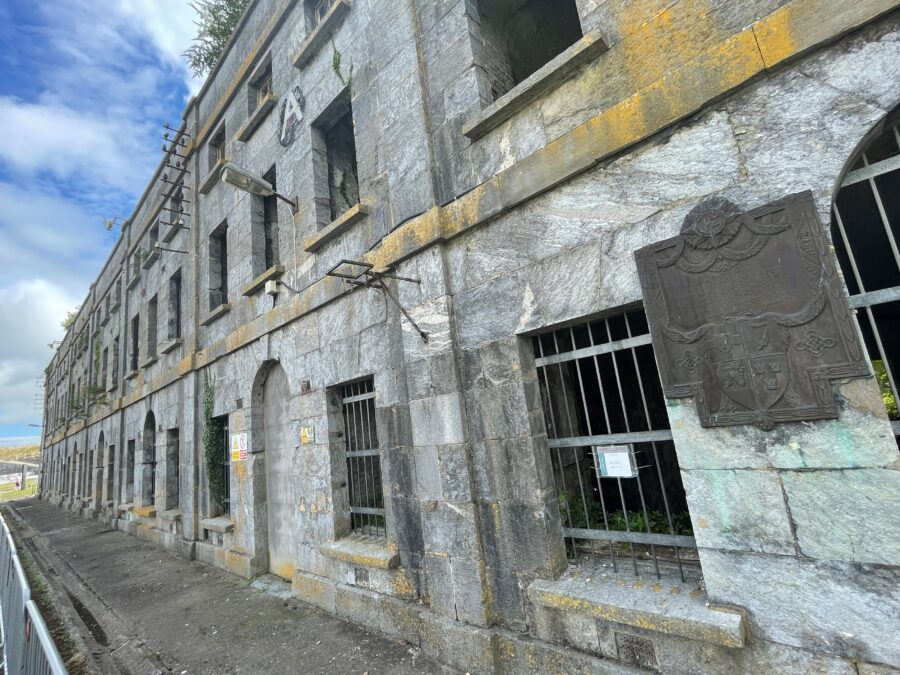 1115a. Former nineteenth century prison block, which held internees on Spike Island in 1921, which includes a memorial to shot internee Patrick White, present day (picture: Kieran McCarthy).