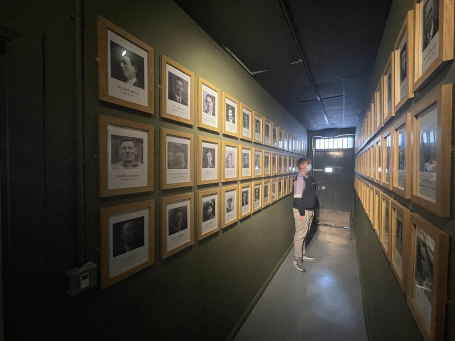 """1115b. Part of the """"Imprisoning the Nation"""" exhibition on Spike Island, showcasing 140 photographs of individual internees, present day (picture: Kieran McCarthy)"""