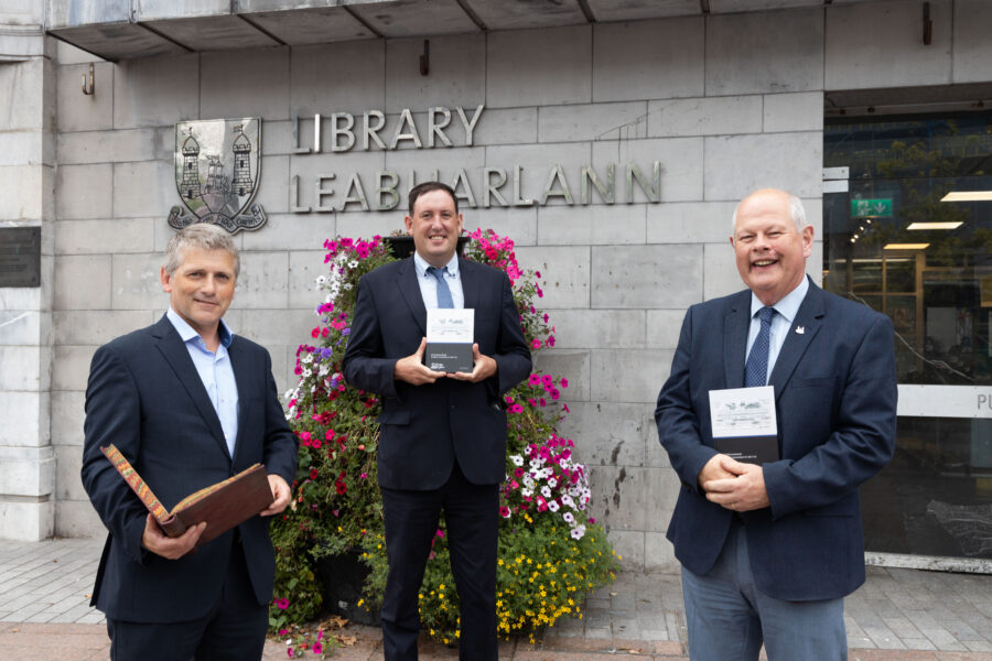 DKANE 19/08/2021 REPRO FREE David Heffernan, MD IITC, Author Cllr Kieran McCarthy  and Cork City Librarian David O'Brien at the official opening of an exhibition at Cork City Library showcasing the 100-year history of Irish International Trading Corporation.  The company was founded by a collective of Cork business families at the Grand Parade in Cork in 1920. The founders were motivated by a desire to support commercial and industrial development in a new emerging Ireland.  The exhibition is free and open to the public until September 17 th PIC Darragh Kane