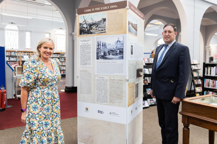 DKANE 19/08/2021 REPRO FREE Patricia Looney, Executive Librarian Literature and Lending Services Cork City Library and local historian  Cllr Kieran McCarthy at the official opening of an exhibition at Cork City Library showcasing the 100-year history of Irish International Trading Corporation. The company was founded by a collective of Cork business families at the Grand Parade in Cork in 1920. The founders were motivated by a desire to support commercial and industrial development in a new emerging Ireland. The exhibition is free and open to the public until September 17 th PIC Darragh Kane