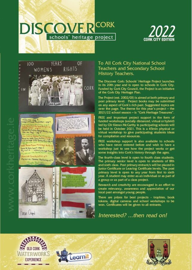 1119a. Front cover of 2021-2022 brochure for Discover Cork Schools' Heritage Project.